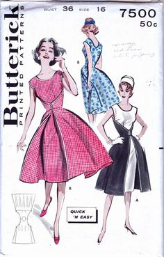 Butterick 7500; ca. 1955; Quick N Easy One Piece Wrap Dress.