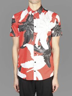 Les Hommes short-sleeved all over lilies printed shirt with button front closure #leshommes