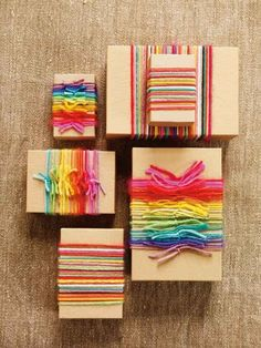 Use yarn scraps to wrap your gifts.