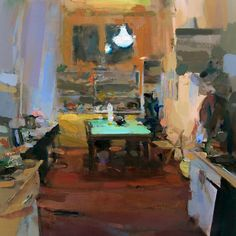 Interior #111 - Oil on wood, 60 x 60 cm. Private Collection.
