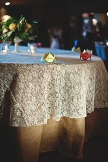 Burlap and Lace I have several lace crochet tablecloths I'm going to use on the accent tables