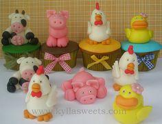farm animals cupcakes ~~~~~~~ cupcakes animais da fazenda