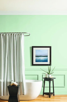 Update your room with a new pastel hue. Mint Shadow from Glidden, is a lovely, bright colour that encourages a sense of optimism and mindfulness. Interior Walls, Interior And Exterior, Garage Floor Finishes, Furniture Scratches, Tape Painting, Bright Paintings, Paint Supplies, Paint Colours, Paint Cans