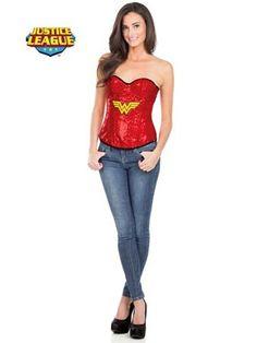 Women's Wonder Woman Sequin Corset Costume   Sexy Super Heroes Halloween Costumes
