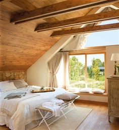 New Home Interior Design: Inspiration. House In Nature, House In The Woods, Nature Houses, Dream Bedroom, Home Bedroom, Peaceful Bedroom, Bedroom Ideas, Master Bedroom, Attic Rooms