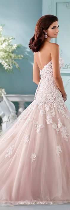 David Tutera for Mon Cheri Fall 2016 Collection - Style No. 216241 Kalapini - blush pink lace and tulle A-line strapless wedding dress