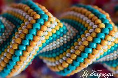 CraftsByDragonyss Waves of Summer flat cellini peyote bracelet Materials: high… Bead Jewellery, Seed Bead Jewelry, Seed Bead Earrings, Beaded Jewelry, Beaded Bracelets, Seed Beads, Beaded Earrings, Bracelets, Tutorials