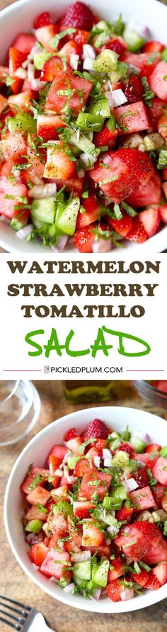 Watermelon, Strawberry & Tomatillo Salad - Only 10 minutes to make from start to finish and maybe the most refreshing salad you'll have this summer! Vegan and Gluten-Free Recipe(Summer Vegan Recipes) Gluten Free Recipes, Vegetarian Recipes, Cooking Recipes, Healthy Recipes, Keto Recipes, Healthy Snacks, Healthy Eating, Paleo, Watermelon Salad