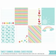 Sweet Summer Digital Journal Cards project life by MissTiina Printable Paper, Printable Stickers, Planner Stickers, Free Printables, Project Life Freebies, Project Life Cards, Pocket Scrapbooking, Scrapbook Paper, Scrapbooking Layouts