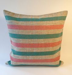 Mint green and pink stripes pillow