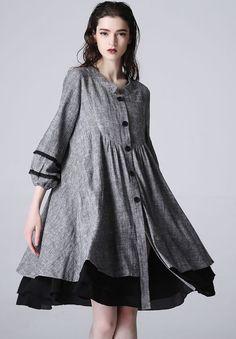 Mini gray linen dress cute tops women dress (1190)