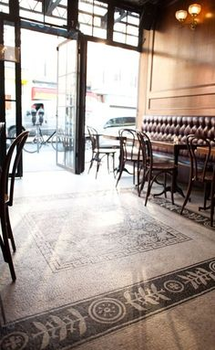 Light Wood Flooring Design, Pictures, Remodel, Decor and Ideas - page 3 Cafe Bistro, Cafe Bar, Cafe Restaurant, Restaurant Design, Painted Concrete Floors, Painting Concrete, Modern Flooring, Cafe Shop, Industrial Loft
