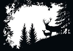 Stag and Deer in the Forest Art Print