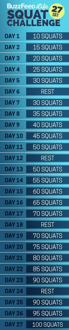 Here's your daily squat schedule:   Take BuzzFeed's 27-Day Squat Challenge, Have The Best Summer Of Your Life: