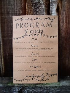 sweet little wedding programme - give to our wedding photographer to document
