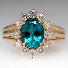 Natural 2.5 Carat Apatite & Diamond Halo Ring 14K