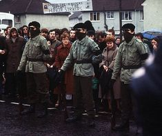 The Belfast Brigade, a split-off organization of the IRA. Look at all those people behind them; shows you it was about resistance—and not 'terrorism', doesn't it? (Your terrorism is someone else's resisnatnce. Northern Ireland Troubles, Belfast Northern Ireland, Bobby Sands, Irish Independence, Irish Republican Army, Northern Island, The Ira, Erin Go Bragh, Michael Collins
