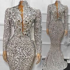 Silver Evening Gowns, Sequin Evening Dresses, Long Sleeve Evening Dresses, Formal Dresses, Wedding Dresses, Silver Outfits, Ladies Day Dresses, Party Dress, Fashion Dresses