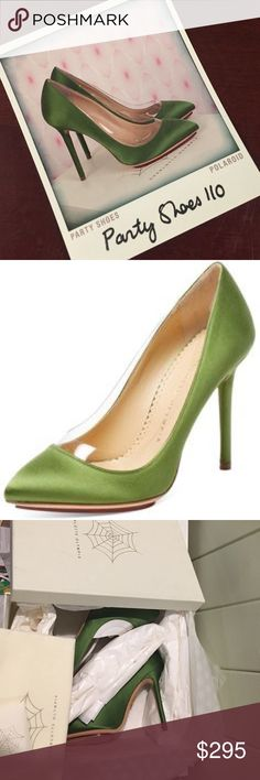 """NIB Charlotte Olympia green satin pumps NIB Charlotte Olympia lime green satin pumps with pvc trim for a little something extra special and unique. 4"""" heel. Second photo is most true color. Includes box, dust bag, extra heel tips, and Polaroid sticker for quick closet identification. All pristine condition and completely giftable! Charlotte Olympia Shoes Heels"""