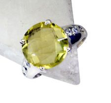 stunning Lemon Quartz Silver Yellow Ring india  L-1in US 5678 Sz 6.5