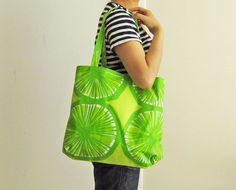 Lime green Marimekko tote bag - laminated PVC-coated via Etsy