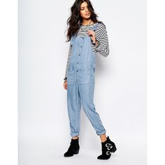 Noisy May Pocket Front Denim Jumpsuit (£16) ❤ liked on Polyvore featuring jumpsuits, blue, tall jumpsuit, blue jump suit, noisy may, jump suit and denim jumpsuit