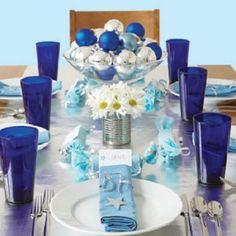 decoracion mesa navideña Vintage azula y plateado - Buscar con Google