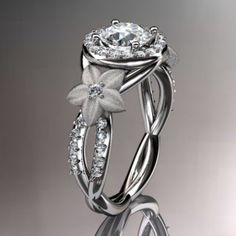 14kt white gold diamond leaf and vine wedding ring,engagement ring,...... | AnjaysDesigns - Jewelry on ArtFire