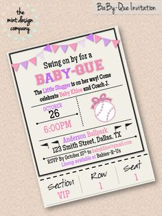 A baseball diamond is a girls best friend on pinterest baseball baseball babyque baby shower invitation perfect for bbq co ed shower gender filmwisefo