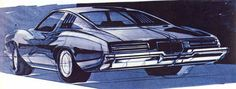 Early '70s rendering of the '73 GTO/Grand Am by Geza Loczi.