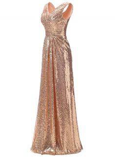 Fashion Long Modest Ruffled Sequin Trim Prom Dress novashe.com