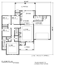 First Floor Plan of Country   Craftsman   Ranch   House Plan 74500