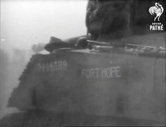 "Sherman Firefly Vc T-148599 named ""Fort Hope"". Possibly after the native reservation in Ontario. Frame from British Pathé FILM ID:1990.04 at 6:14 minutes. Footage of Operation Totalize (AKA Totalise) taken near Cintheaux."