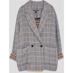 CHECKED BLAZER - NEW IN-TRF | ZARA Israel ($35) ❤ liked on Polyvore featuring outerwear, jackets, blazers, blue blazer jacket, checked blazer, blazer jacket, checked jacket and checkered jacket