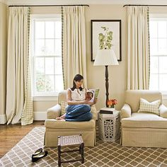 101 Living Room Decorating Ideas - Southern Living. Hanging draperies ceiling to floor.