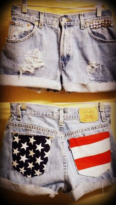 American Flag Destroyed High Wasted Levi's by nineteenlives    LOVE!! I love AMURICA