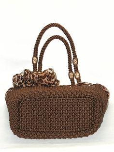 Brown Macrame bag handmadetotepurse handbagliefs by BagsMagicKnots