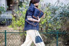 women street style paris fashion week denim bag