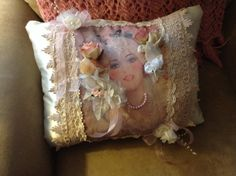 Throw pillow with image of victorian bride by cindysvictorian
