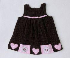 Girls RARE EDITIONS Brown Pink Polka Dot Heart Flowers Jumper Dress SZ 18 Months #RareEditions #Jumper #CasualParty