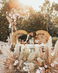 Pampas grass wedding decor with sweetheart table - Brogen Jessup Wedding Photo wedding Pampas Grass Wedding Ideas for the Boho Glam Bride Romantic Wedding Photos, Chic Wedding, Wedding Trends, Dream Wedding, Wedding Ideas, Wedding Reception, Romantic Weddings, Wedding Photo Table, Wedding Aisles