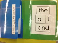 Portable word wall made from a file folder.