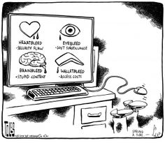 Heartbleed bug (Security Flaw), Eyebleed (Government Surveillance), Brainbleed (Stupid Content); Walletbleed (Access Costs) | Tom Toles: Political Cartoons from Tom Toles - The Washington Post
