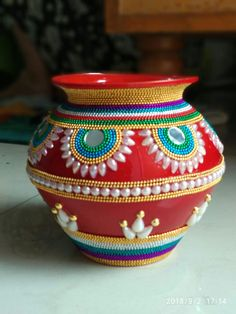 Janmashtami Decoration Ideas Home Design Arti Thali Decoration, Kalash Decoration, Desi Wedding Decor, Wedding Crafts, Pottery Painting Designs, Pottery Designs, Diy Diwali Decorations, Festival Decorations, Diy Arts And Crafts