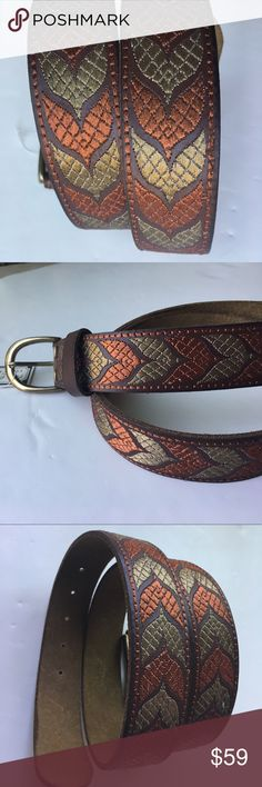 ☘️LUCKY BRAND Leather Embroidered Peter Dunham Brand new! With tags! Various sizes available  Lucky Brand Accessories Belts