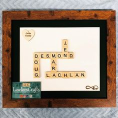 Family scrabble frame in a rustic brown frame 💕 #scrabbleframe #personalisedscrabbleframe #familyframe Scrabble Frame, Scrabble Art, Scrabble Tiles, Frame Crafts, Different Colors, Frames, My Etsy Shop, Handmade Gifts, Rustic