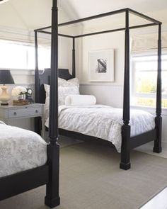 black four poster twin beds inside pinterest guest rooms kings lane and kid rock. Black Bedroom Furniture Sets. Home Design Ideas