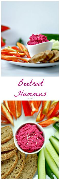 Beetroot Hummus | WIN-WINFOOD.com The colorful and fun twin of the traditional chickpea hummus. It is the perfect creative #snack for kids, an out-of-the box appetizer or crowd pleasing party food.