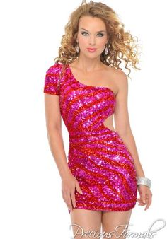 Precious Formals Style This trendy short single sleeve cut-out mini-dress is both sexy and wearable. It has an amazing number of hand sown sequins miraculously making it glitter and shine shouting red carpet! Unique Prom Dresses, Pageant Dresses, Homecoming Dresses, Sexy Dresses, Casual Dresses, Dresses With Sleeves, Formal Dresses, Fitted Dresses, Fabulous Dresses
