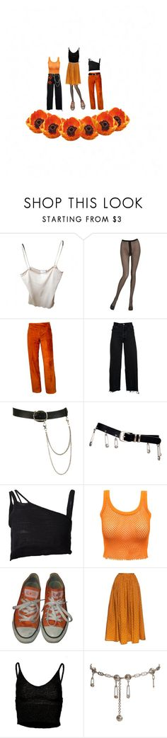 """ORANGE"" by kreiton ❤ liked on Polyvore featuring Chanel, Emilio Cavallini, RE/DONE, Wet Seal, Versace, Area Di Barbara Bologna, Converse, Thierry Colson and Retrò"
